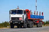Novyy Urengoy, Russia - June 4, 2020: Offroad semi-trailer truck MAZ 6425 at the interurban road.
