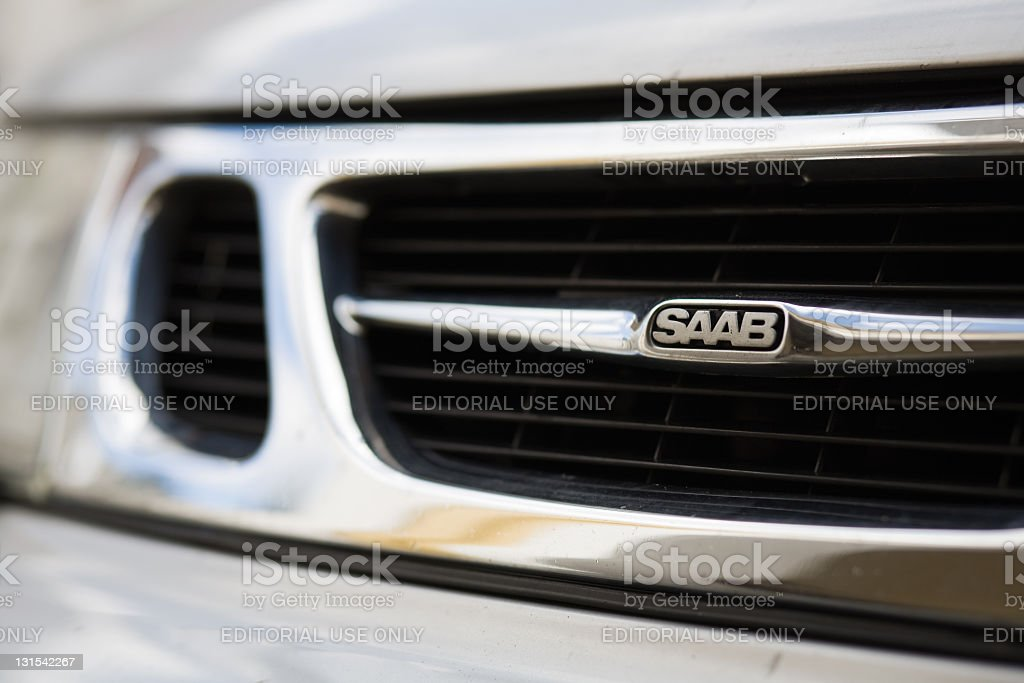 SAAB Karlstad,Sweden - Oct 15 , 2011: The front grille of an SAAB 9-5 car, produced by SAAB Automobile AB Car Stock Photo
