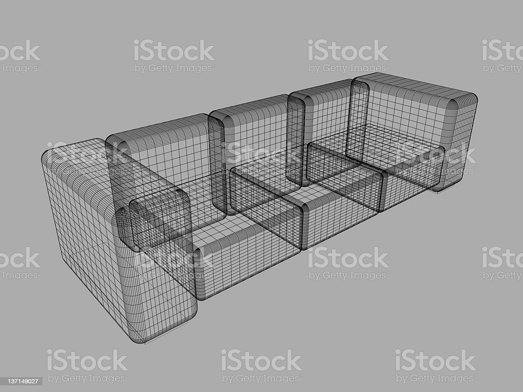 3D SOFA WIREFRAME royalty-free stock photo