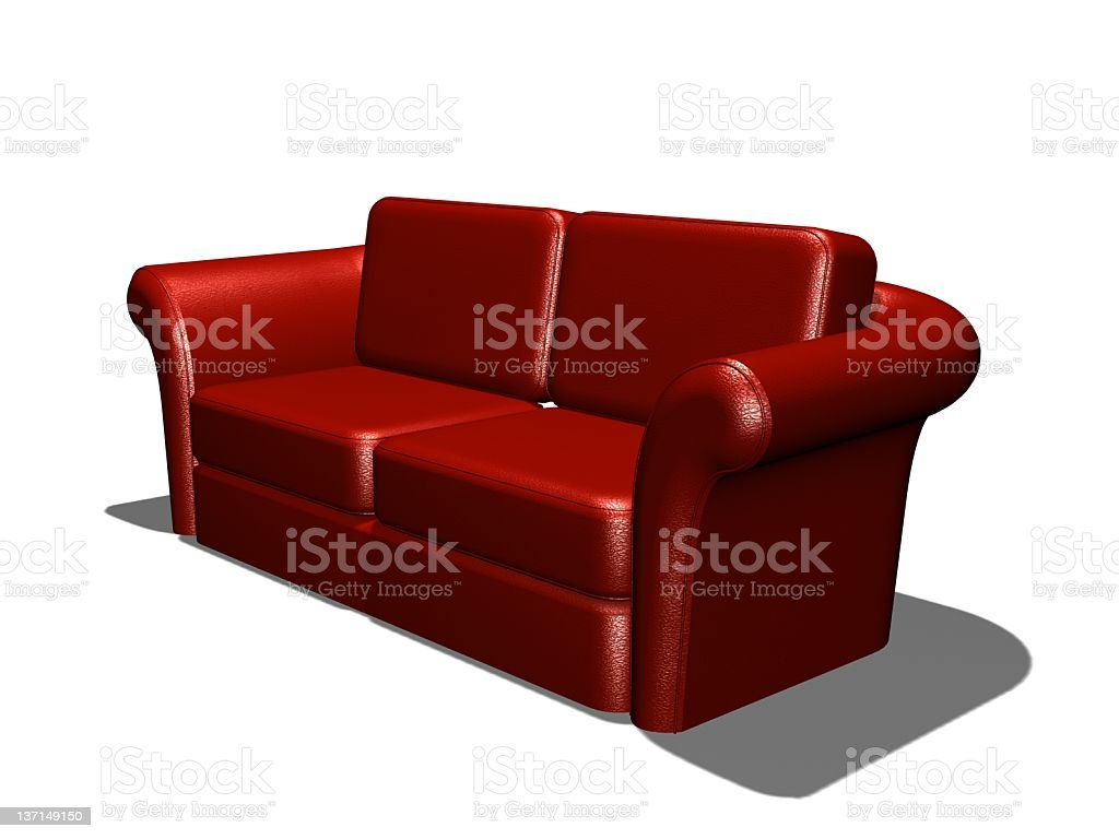 MODERN RED LEATHER COUCH royalty-free stock photo