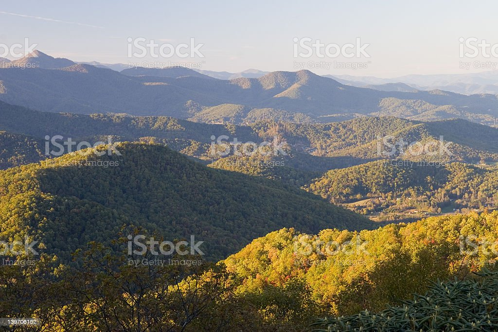 BLUERIDGE PARKWAY FALL COLOR AT OVERLOOK royalty-free stock photo