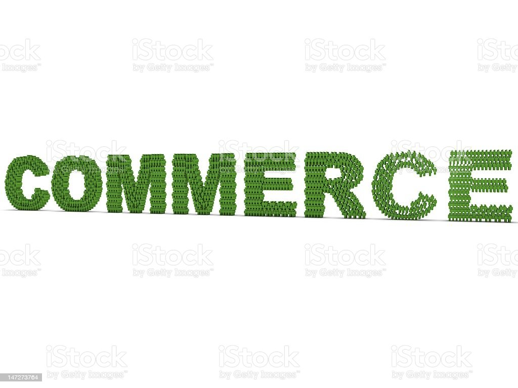 COMMERCE The word commerce in green made up of hundreds of human figures. Adult Stock Photo