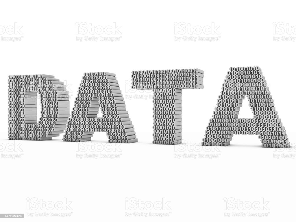 DATA The word 'data' made up of ones and zeros. Byte Stock Photo