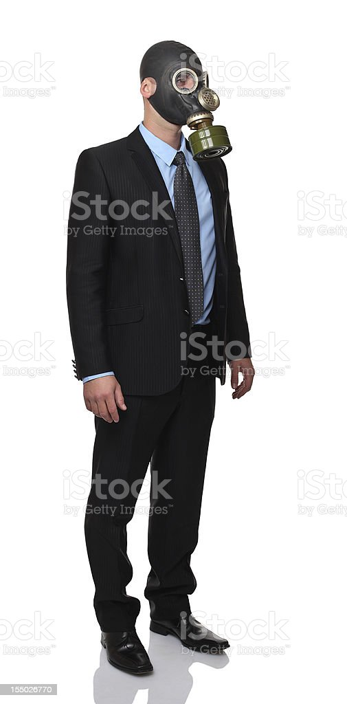 MAN WITH GASMASK royalty-free stock photo