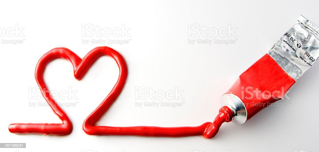 RED PAINTED HEART stock photo