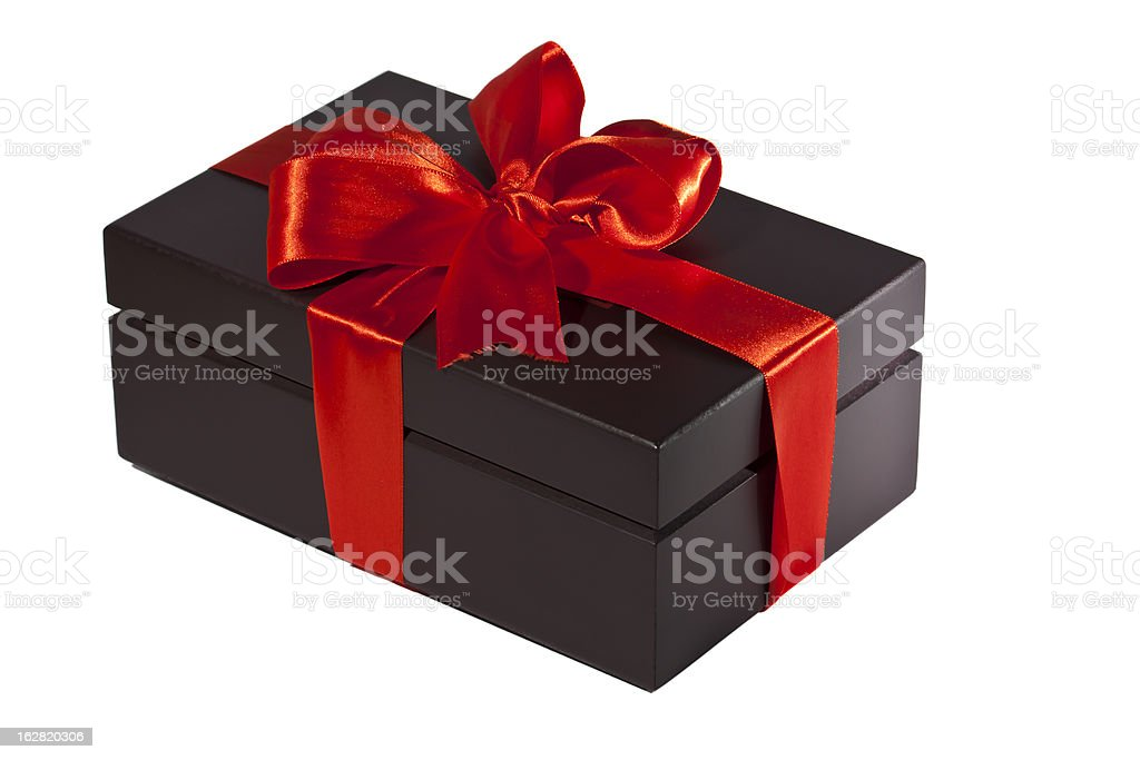 gift box, cut out on white background stock photo