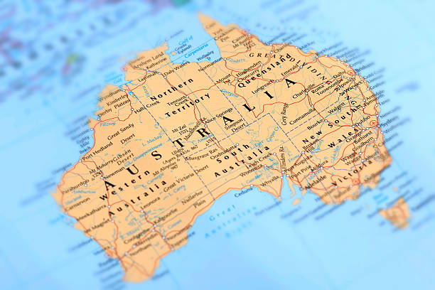 AUSTRALIA Map of Australia. Selective Focus.  australia stock pictures, royalty-free photos & images
