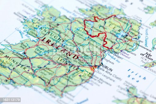 Map of Ireland. Selective Focus.