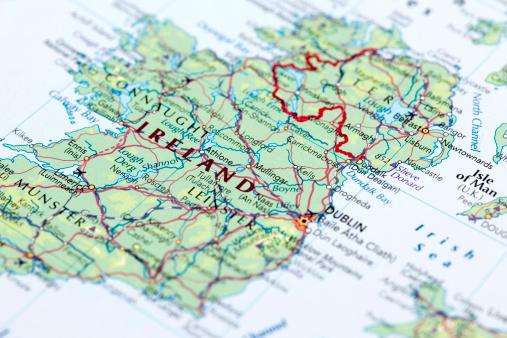 Map of Ireland. Selective Focus.