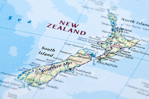 NEW ZEALAND Map of New Zealand.  wellington new zealand stock pictures, royalty-free photos & images