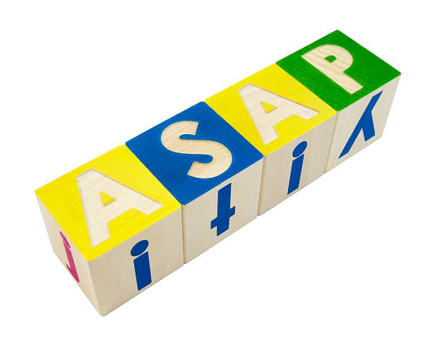 ASAP As Soon As Possible in blocks. Seen from above at an angle. Horizontal.-For more block talk, click here.  BLOCK TALK  ASAP stock pictures, royalty-free photos & images