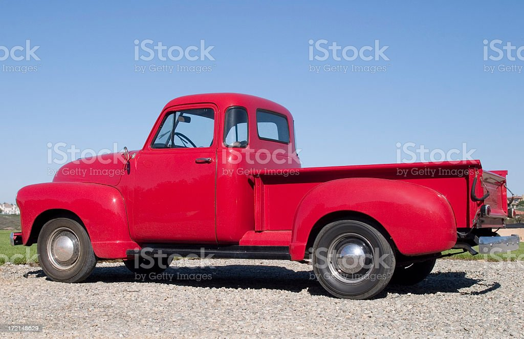 OLD RED TRUCK stock photo