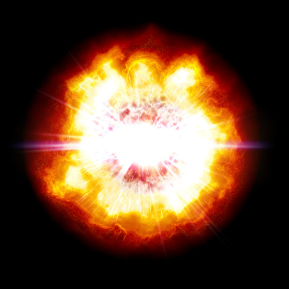 An enormous powerful explosion with a white-hot center