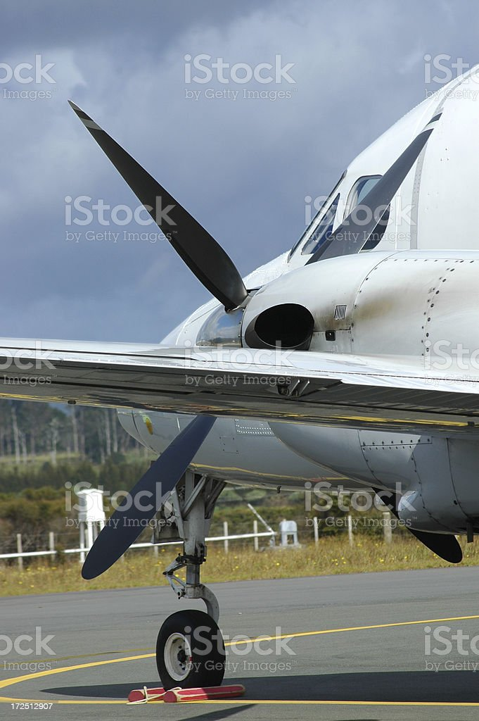 PRIVATE PLANE AWAITING TAKEOFF royalty-free stock photo