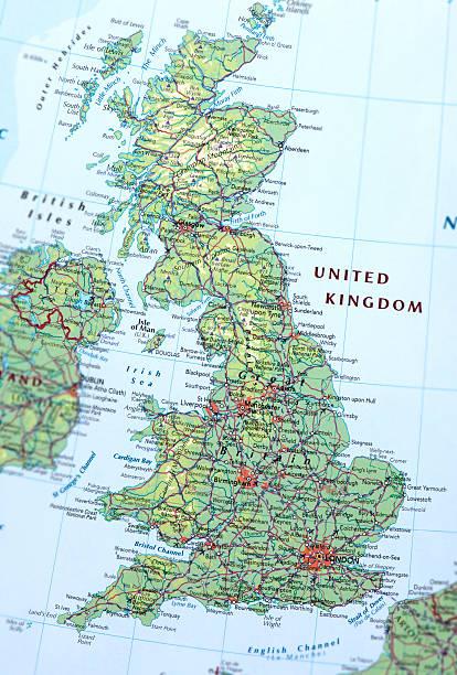 UNITED KINGDOM Map of United Kingdom. northwest england stock pictures, royalty-free photos & images