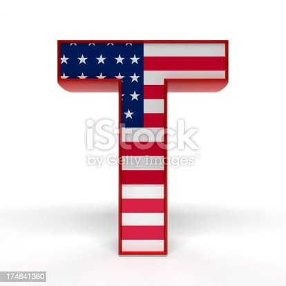 3d rendered Alphabet T with American flag texture