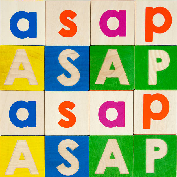 ASAP 4x4 As Soon As Possible in blocks. Horizontal.-For more block talk, click here.  BLOCK TALK  ASAP stock pictures, royalty-free photos & images