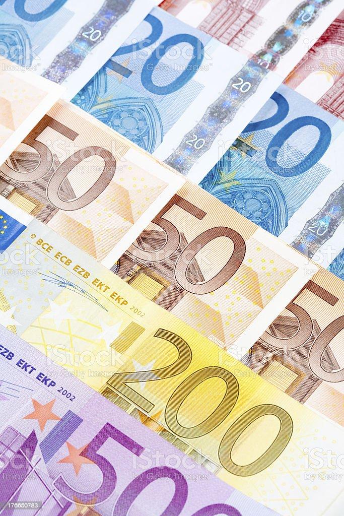 PRIMER PLANO DE LA UNIÓN EUROPEA DE LOS BILLETES DE EURO foto de stock libre de derechos