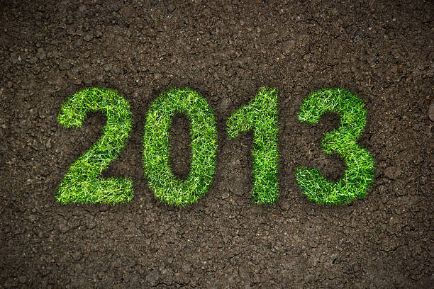 2013 2013 New Year sign of green grass over dark ground. Eco concept 2013 stock pictures, royalty-free photos & images