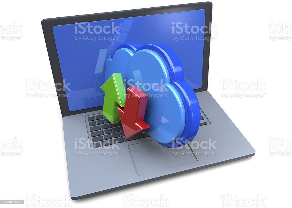 COMPUTER AND CLOUD STORAGE - 3D royalty-free stock photo