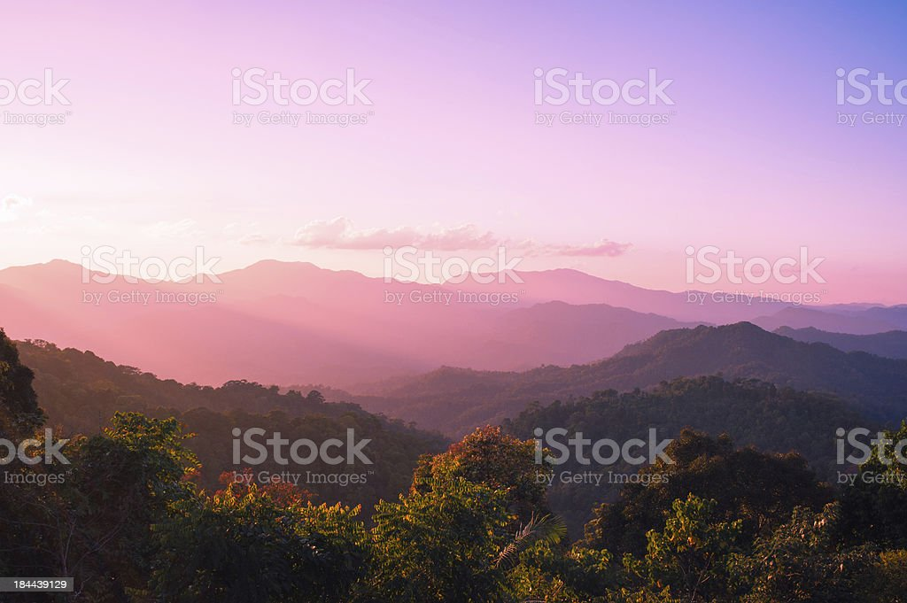 VIEW SUNRISE NATURAL MOUNTAIN LANDSCAPE stock photo