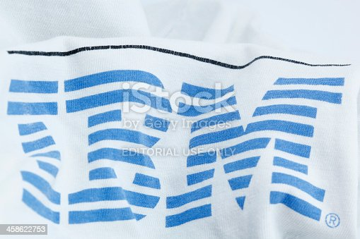 Cantley, Quebec, Canada - June 3, 2012: IBM logo on a flag in cotton. IBM or International Business Machines Corporation is an American multinational technology and consulting corporation headquartered in Armonk, New York, United States.