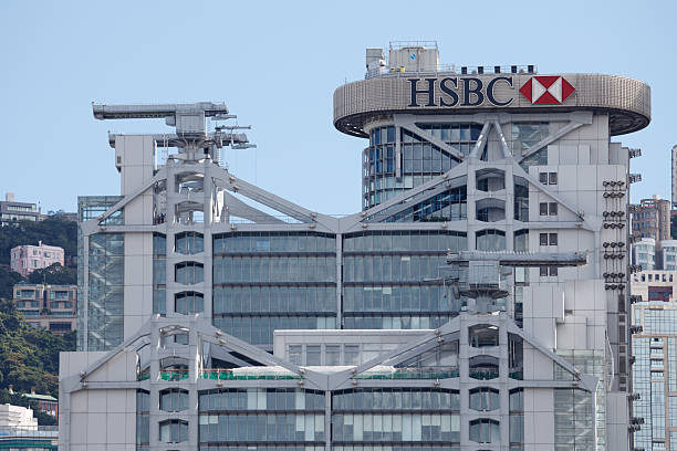 HSBC Hong Kong, China - August 18, 2011: HSBC headquarters building. This building is located in 1 Queen\'s Road Central, Central District, Hong Kong. This building was designed by Norman Foster. hsbc stock pictures, royalty-free photos & images