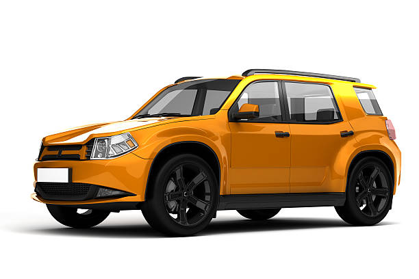 SUV 3D rendering of car on white background. generic description stock pictures, royalty-free photos & images
