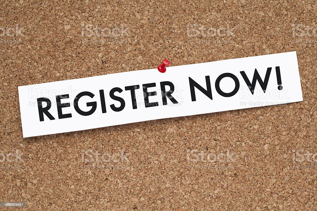 REGISTER NOW stock photo