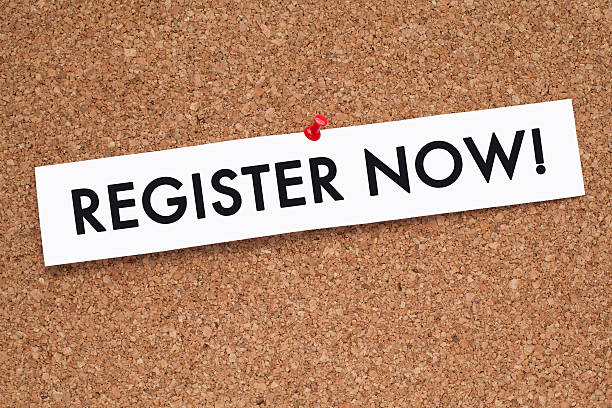 REGISTER NOW Register Now message on white paper pinned on cork noticeboard cash register stock pictures, royalty-free photos & images