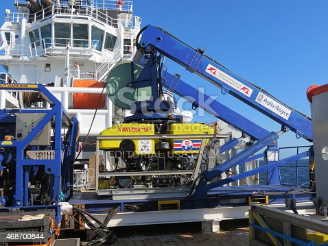 Brest, France - September 13th, 2013: The UK Submarine Rescue Service's remotely operated vehicle (ROV) being launched. This will be used to clear debris from around a stricken submarine and to deliver survival stores to buy time until a rescue can be mounted. Training exercises are held about 4 times a year.