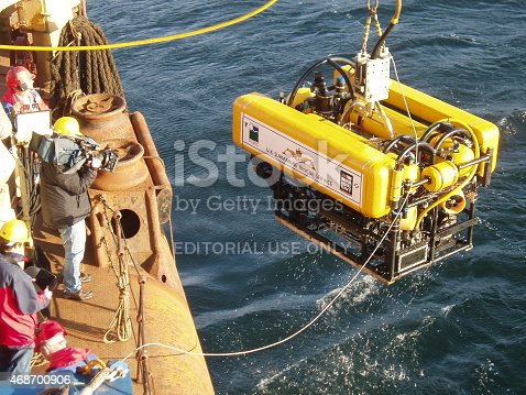 Isle of Aran, UK - October 7th, 2005: The UK Submarine Rescue Service's remotely operated vehicle (ROV) being launched. This will be used to clear debris from around a stricken submarine and to deliver survival stores to buy time until a rescue can be mounted. Training exercises are held about 4 times a year.