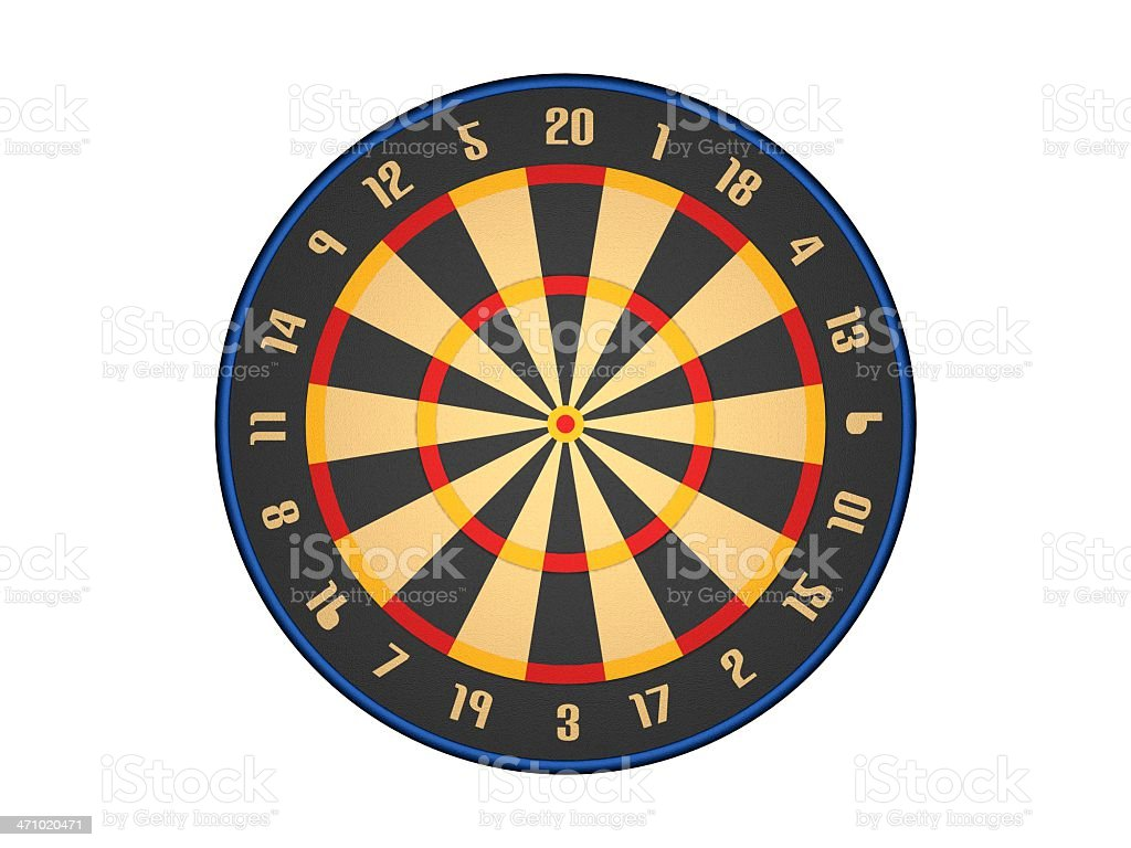 DARTS GAME BOARD FRONT VIEW stock photo