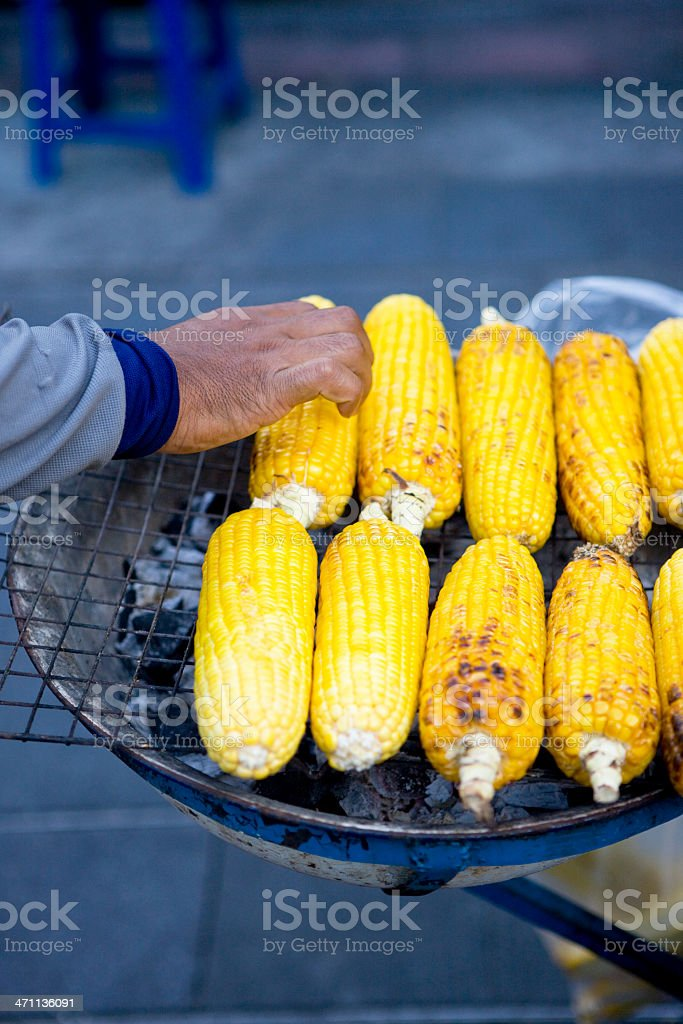CORN ON BARBEQUE royalty-free stock photo