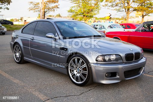 Dartmouth, Nova Scotia, Canada - June 6, 2013: A BMW M3 E46 parked in a parking lot.  In background, some other cars are visible.  The E46 M3 was first introduced in 2000 and features 333 HP from a 3.2 litre engine.  The BMW M3 is considered one of the best sports cars of all time and is a benchmark in sports performance.