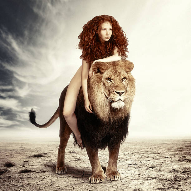zodiac: leo - naked women with animals stock photos and pictures