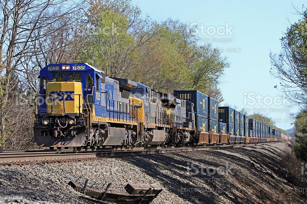 Csx Railroad Intermodal Container Freight Train Stock Photo