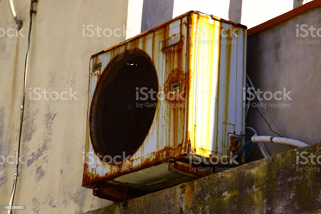 OLD AIR CONDITIONER stock photo