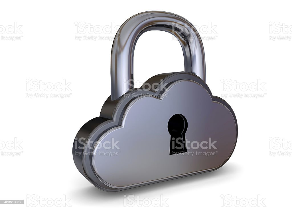 LOCK CLOUD CONCEPT - 3D royalty-free stock photo