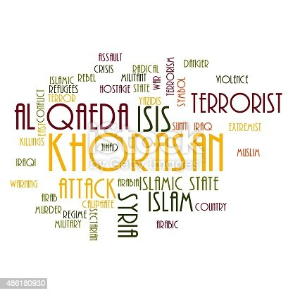 KHORASAN, ISIS and Al Qaeda word cloud on white background.