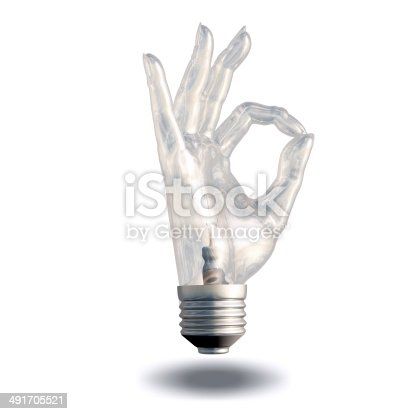 OK Symbol Light bulb isolated on white