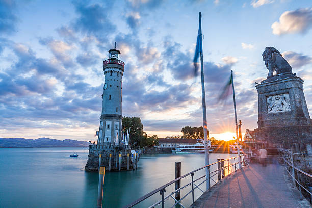 LINDAU, GERMANY LINDAU, GERMANY - Lighthouse at port of Lindau harbour, Lake Constance, Bavaria Bodensee stock pictures, royalty-free photos & images