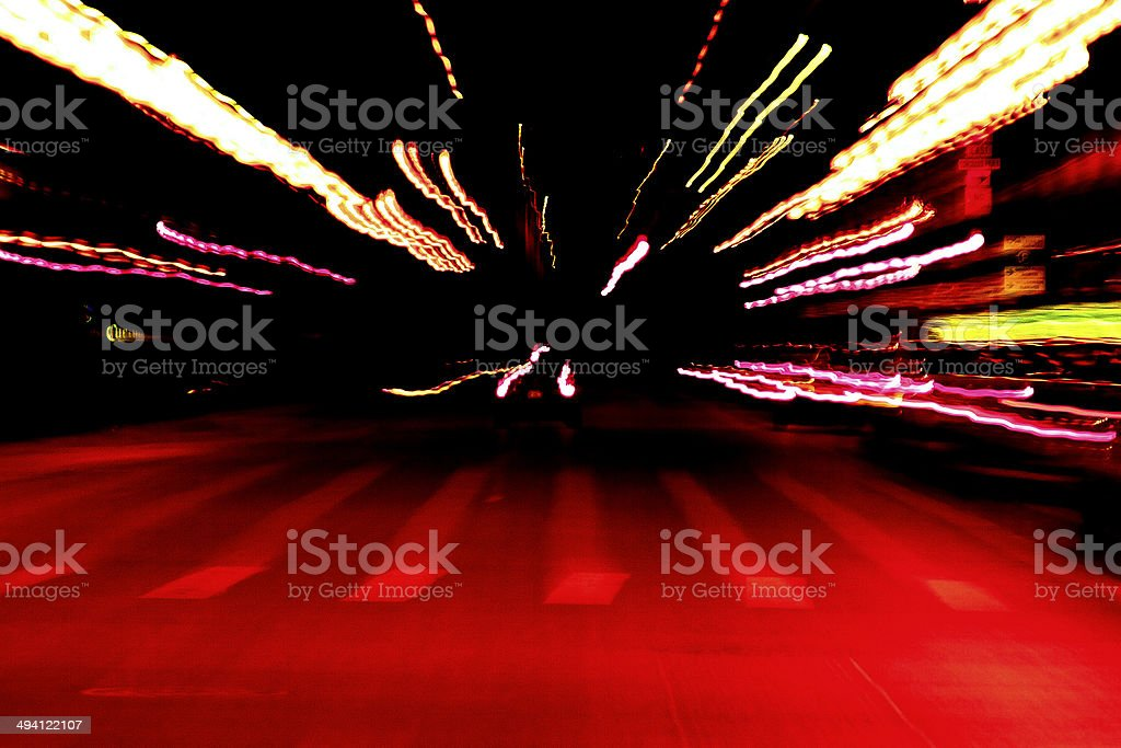 SPEED MOTION LIGHT STREETS TRAFFIC CARS CITY NIGHT CHICAGO ILLINOIS stock photo