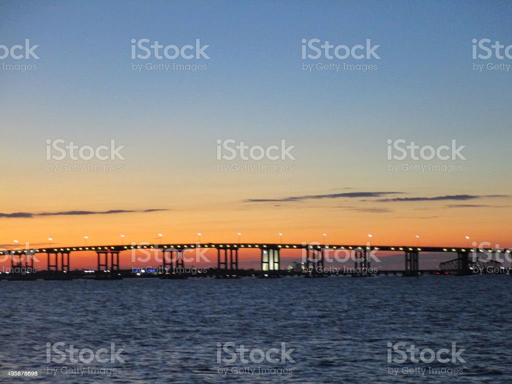 SUNSET  OVER BILOXI BRIDGE stock photo