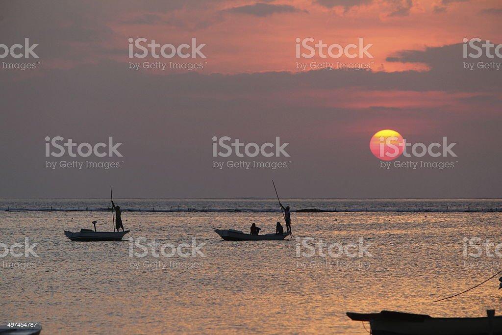 ASIA  BALI NUSA LEMBONGAN SUNSET stock photo