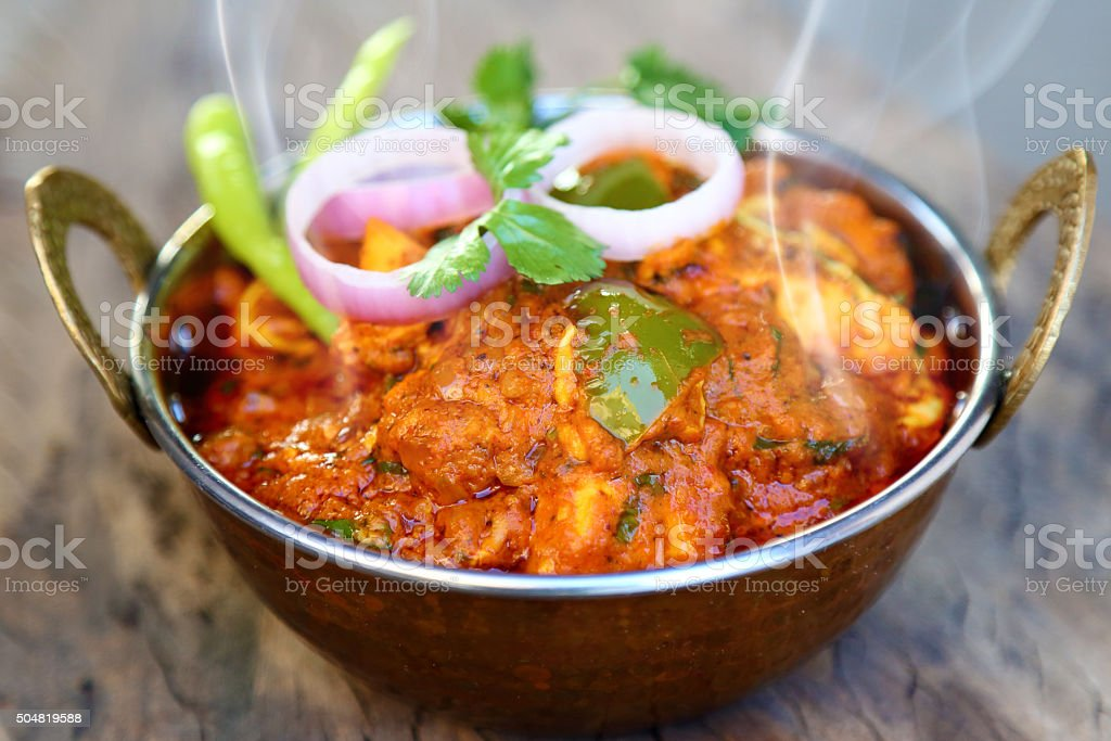 INDIAN STYLE COTTAGE CHEESE VEGETARIAN CURRY DISH. stock photo