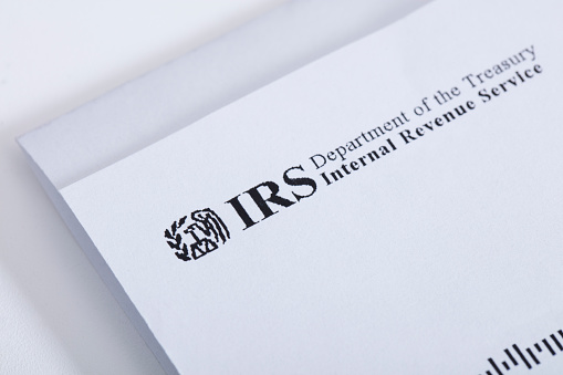 Las Vegas, USA - January 19, 2016: A letter from the Internal Revenue Service or IRS. Photographed with a macro lens.