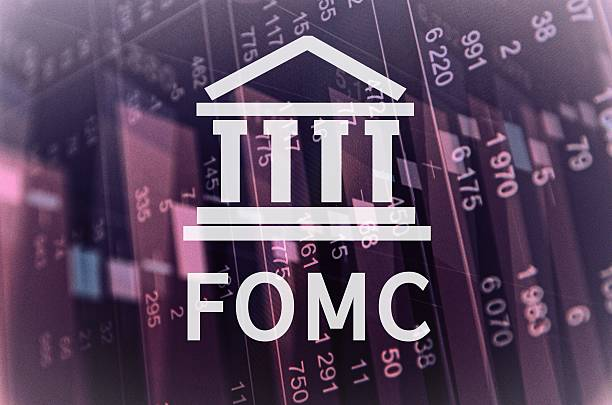 FOMC Building icon with inscription FOMC. Financial data on computer screen. monetary policy stock pictures, royalty-free photos & images