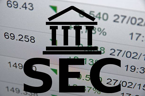 SEC Building icon and inscription SEC. Financial data on background arbiter stock pictures, royalty-free photos & images