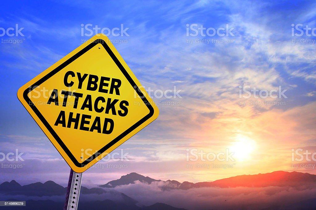CYBER ATTACKS AHEAD royalty-free stock photo